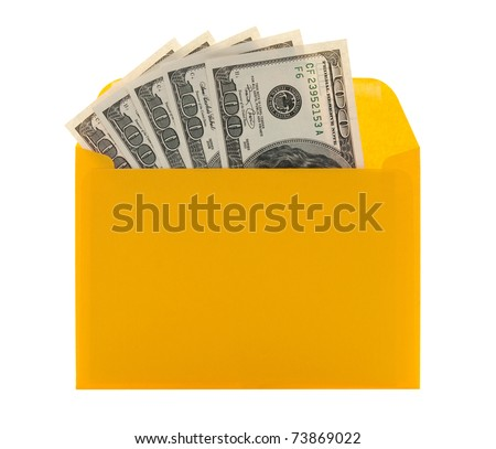 Money in a bright yellow envelope, isolated on white background.