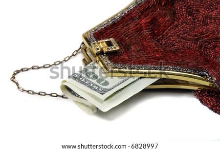 Money in a fancy, red, beaded purse.