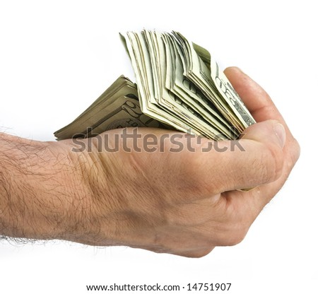 money in a hand isolated on white