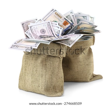 money in bags isolated on white
