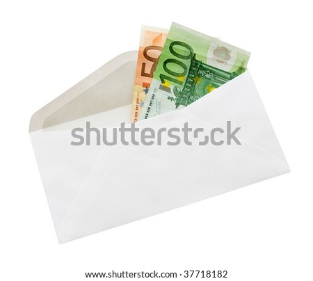 Money in envelop with clipping path ""