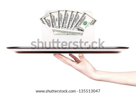 money in envelope isolated on a tray with woman hand
