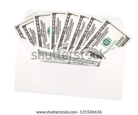 money in envelope isolated on white background