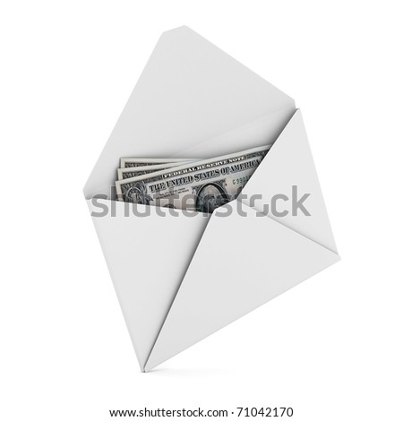 Money in envelope on white background. Isolated 3D image