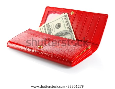 Money in female red leather purse isolated on white background