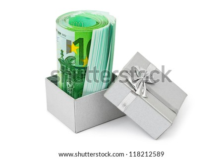 Money in gift box isolated on white background