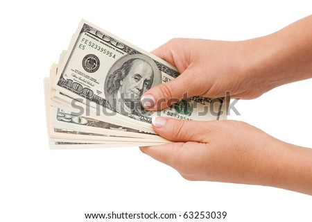 Money in hand, isolated on white background
