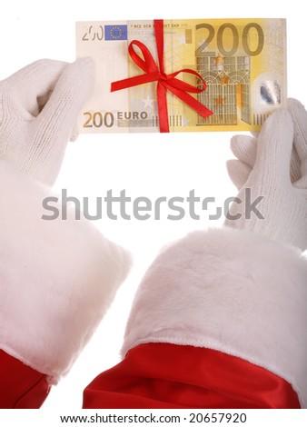 Money in hand of santa claus.