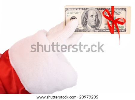 Money in hand of santa claus.