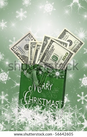 money in holiday gift bag with snowflakes