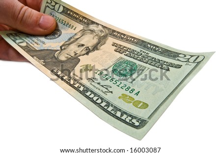 Money in male hand close up. Wide angle lens used to get shot