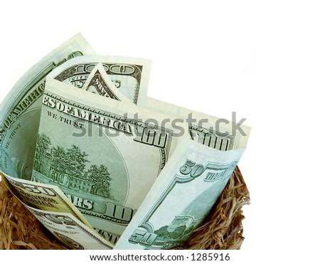 Money in nest,conceptual for financial nest egg.