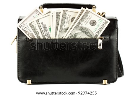 Money in the black bag on the white background