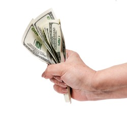 Money in the hand (Hand with money, Hand holding Banknotes)
