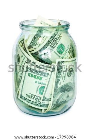 money in the jar isolated on white