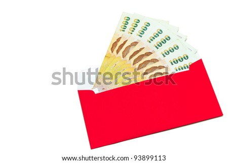 money in the red envelope on white background