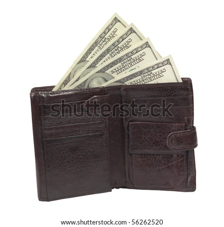money in wallet,isolated on white with clipping path