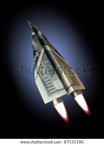 Money jet,100 dollar bill concept for rising financial costs, flying commercial, soaring wealth ,dreams, investments ,rising dept ,technology ,economic depression ect.