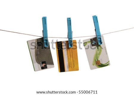money laundering concept: credit cards hanging on clothesline