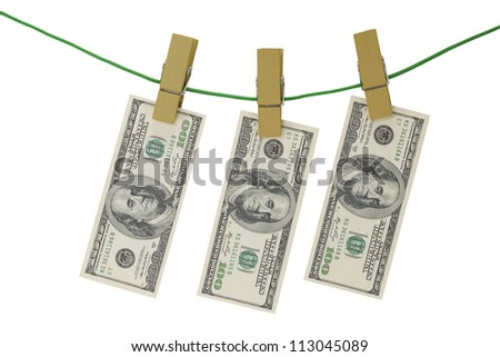 Money laundering on string with clothespins with clipping path