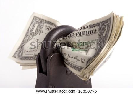 money locked up in a big padlock