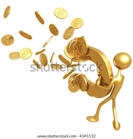 Money magnet attracting gold dollar coins stock photo - What colour attracts money ...