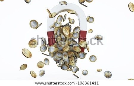 money magnet with euro coins