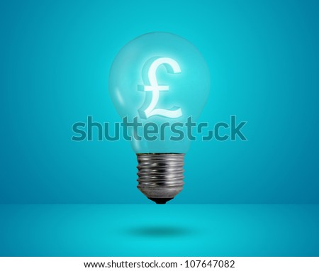 Money making idea. Light bulb with Pound symbol.