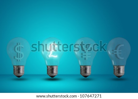 Money making idea. Pound symbol glow among other light bulb on a blue background