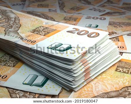 Money of Czech Republic. Czech koruna bills. CZK banknotes. 200 Kc. Business, finance, news background. 3d illustration. Foto stock ©