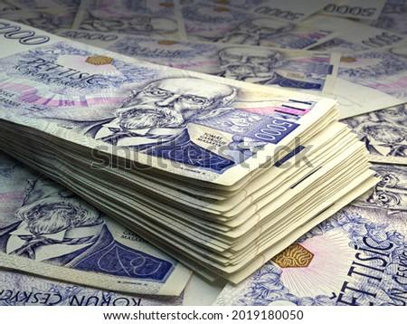 Money of Czech Republic. Czech koruna bills. CZK banknotes. 5000 Kc. Business, finance, news background. 3d illustration. Foto stock ©