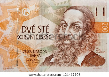 money of Czech Republic with portrait of John Amos Comenius teacher, educator and writer