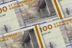 Money of Denmark. Et nundrede kronor. One hundred Danish Krone background