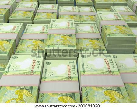 Money of Romania. Romanian leu bills. RON banknotes. 1 lei. Business, finance, news background. 3d illustration. Foto stock ©
