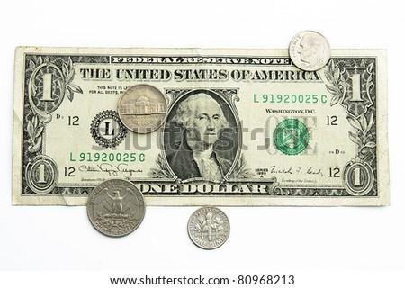 money of USA isolated on white