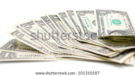 Money. On a white background.