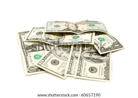 money on a white background - stock photo