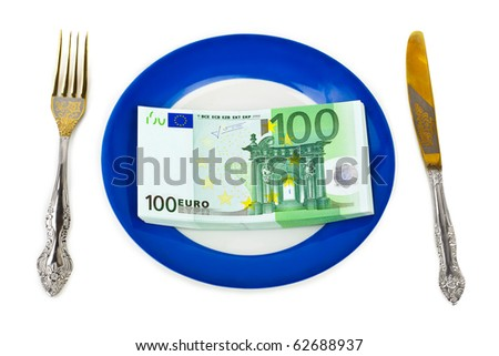 Money on plate isolated on white background