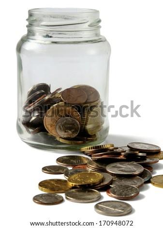 money on the bottle,dollar,isola  ted on white background - stock photo