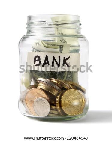 money on the bottle,dollar,isolated on white background