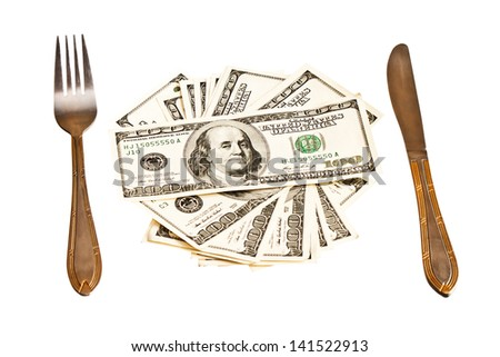 Money on the plate with fork and knife, isolated on white background