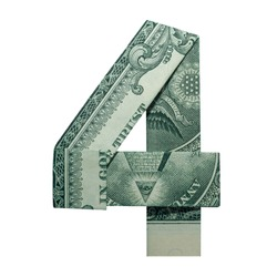 Money Origami DIGIT 4 Number Folded with Real One Dollar Bill Isolated on White Background