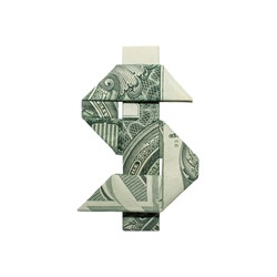 Money Origami DOLLAR SIGN Cash Folded with Real One Dollar Bill Isolated on White Background