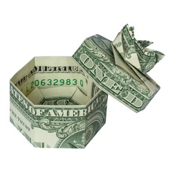Money Origami GIFT BOX Folded with Real One Dollar Bill Isolated on White Background