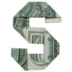 Money Origami LETTER S Character Folded with Real One Dollar Bill Isolated on White Background