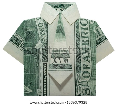 Dollar Origami Dress Isolated On White Stock Photo (Edit Now) 386284951 | 402x450