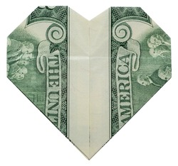 Money Origami Valentine's Day HEART Back Side Folded with Real Two Dollars Bill Isolated on White Background
