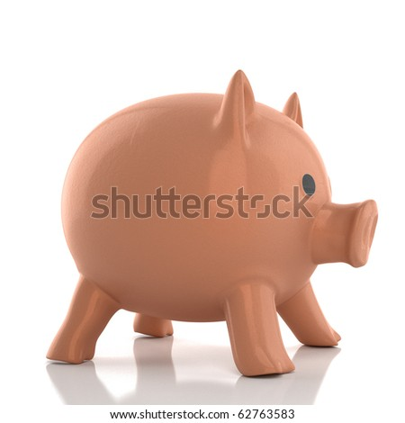 Money piggy bank isolated on white background