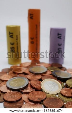 money pile, coin pile, euro, cash