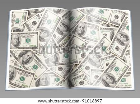 Money Pile $100 dollar bills, book